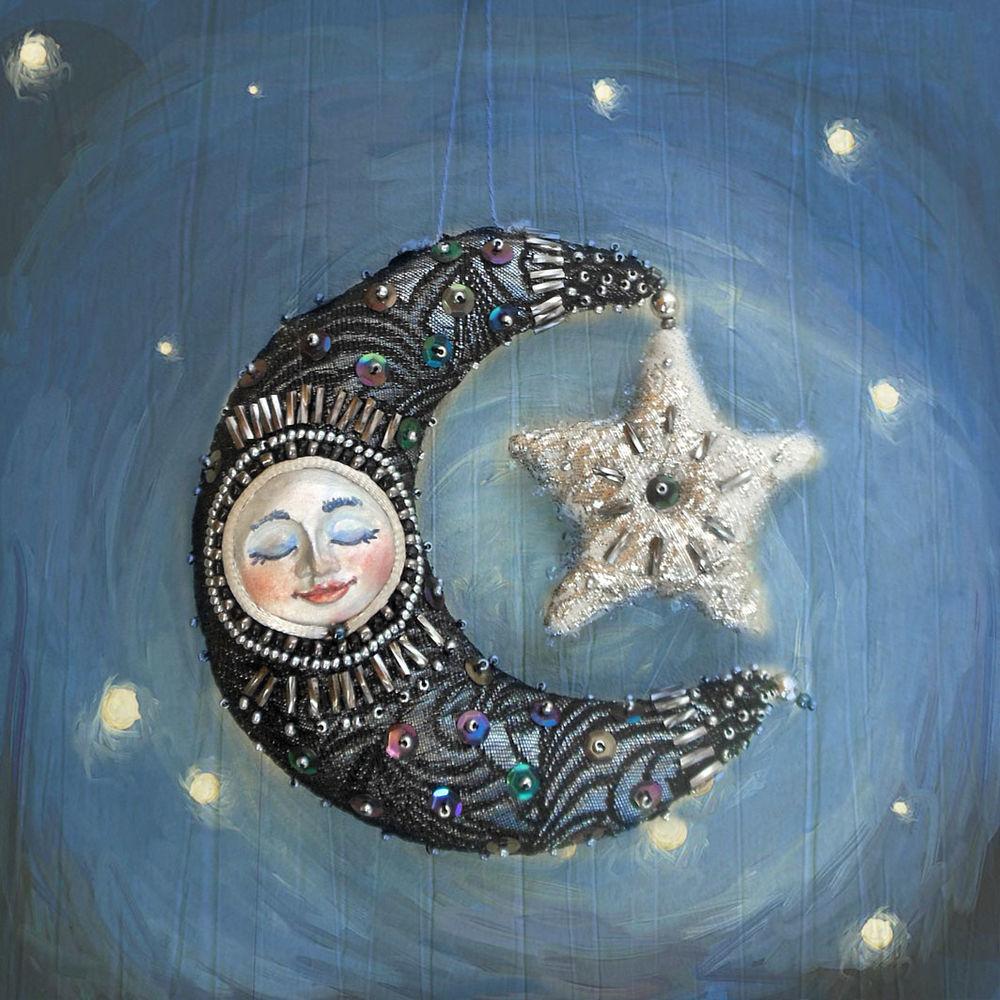 елочные игрушки, оригинальный подарок, луна, звездное небо