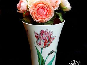 Декорируем пластиковую вазу имитацией фарфора и росписи. Ярмарка Мастеров - ручная работа, handmade.