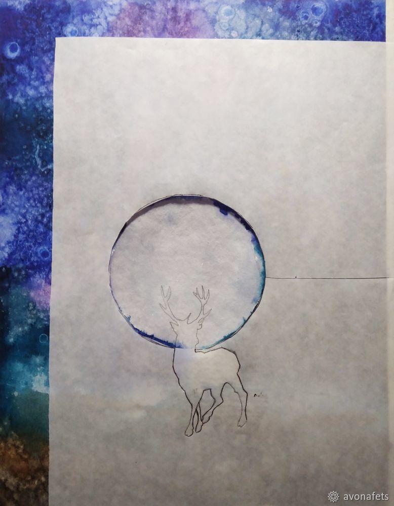 Рисуем акварелью волшебный лес с оленем, фото № 12