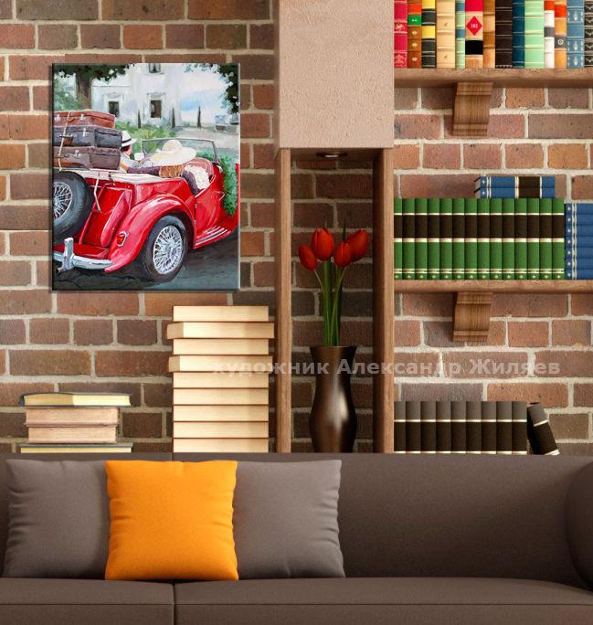 картина в кабинет, подарок мужчине, красная машина