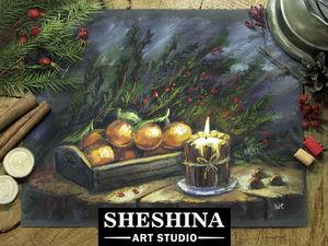Видеоурок: рисуем рождественский натюрморт со свечой и мандаринами сухой пастелью. Ярмарка Мастеров - ручная работа, handmade.