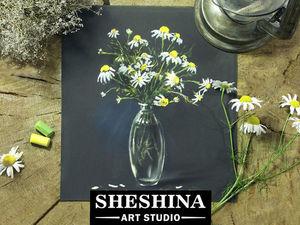 Видеоурок: рисуем ромашки в стеклянной вазе сухой пастелью. Ярмарка Мастеров - ручная работа, handmade.