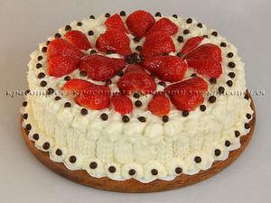 Торт с Клубникой и Творожным Кремом | Ярмарка Мастеров - ручная работа, handmade