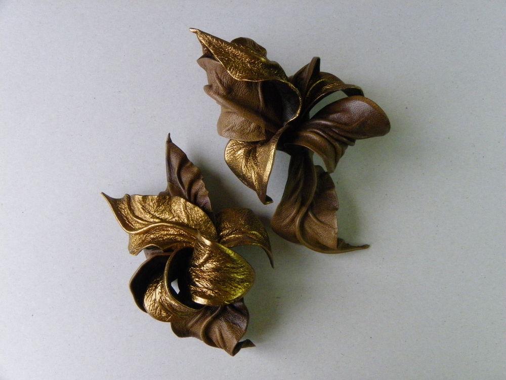новинки, золото, брошь, комплект украшений, заколка цветок из кожи
