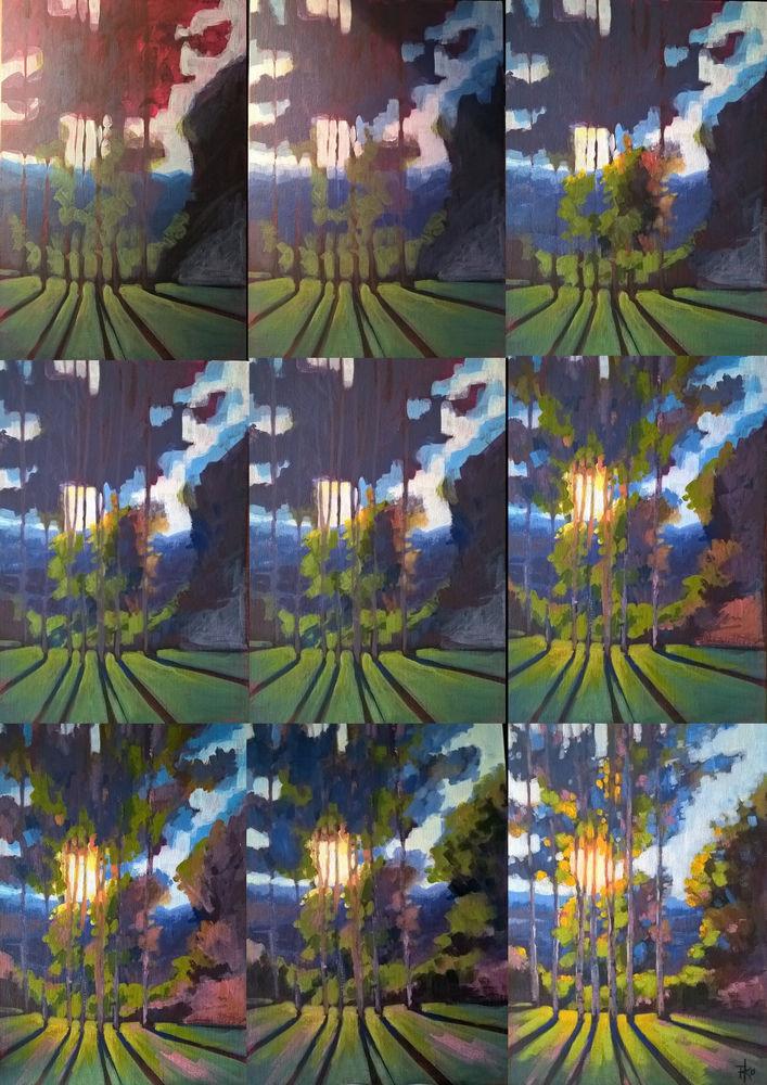 живопись, живопись акрилом, акрил, пейзаж, деревья, лес, березы, природа, закат, лето, август, интерьер, картина для интерьера, уют, урок рисования, как нарисовать, процесс рисования, мастер-класс по живописи, зеленый, фиолетовый