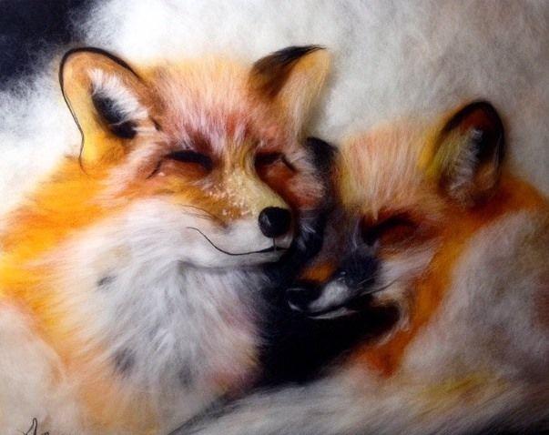 Мастер-класс  «Шерстяная живопись»  Создаем теплые картины. Лисички, фото № 2