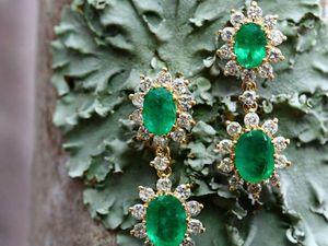 Золотые бриллиантовые серьги с изумрудами!!! | Ярмарка Мастеров - ручная работа, handmade
