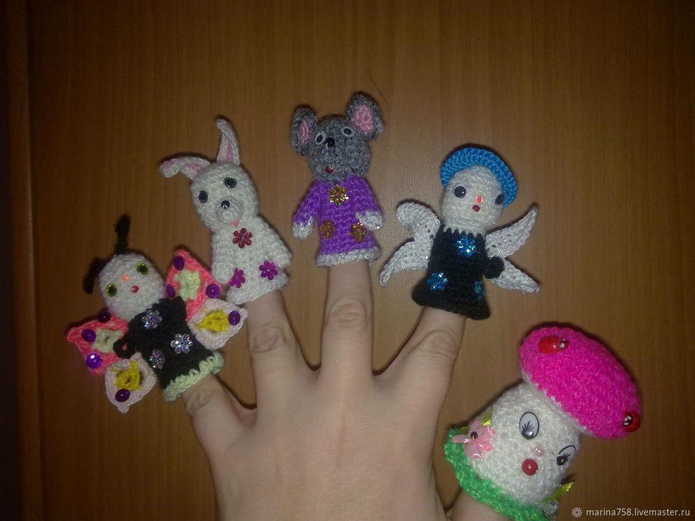 вязанный пальчиковый театр, игрушки для детей
