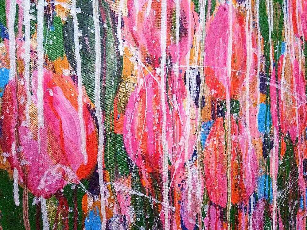 картина с цветами, яркая абстракция