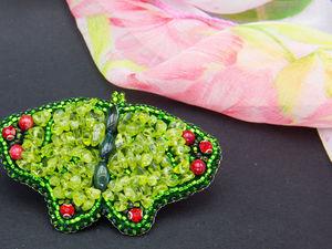 Мастерим оригинальную брошь-бабочку из бисера и бусин. Ярмарка Мастеров - ручная работа, handmade.