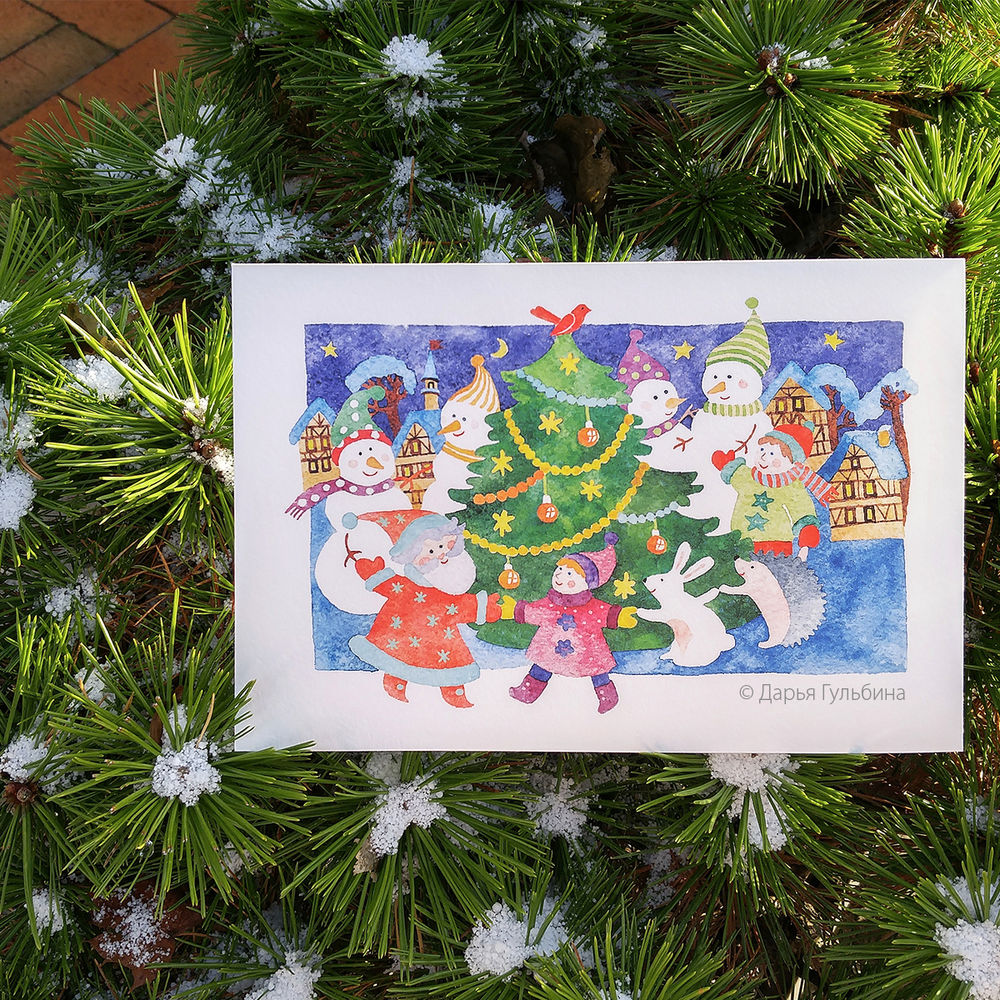 новый год 2017, с новым годом, новогодняя ярмарка, письмо от деда мороза, акварельная открытка, иллюстрация, елочка