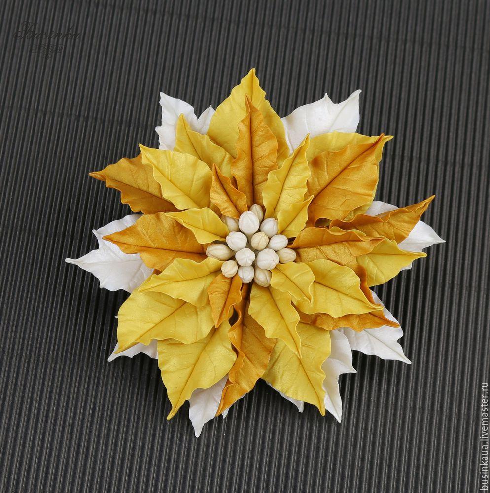 как сделать пуансеттию, пуансеттия мастер класс, цветы пуансеттии, как собрать украшение, новгодние украшения, дизайн украшений
