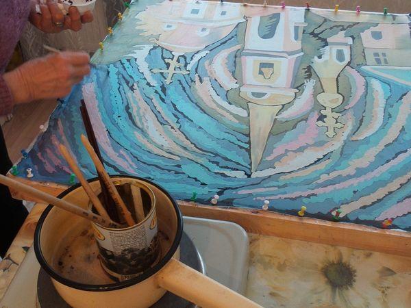 Роспись платка в технике горячий батик   Ярмарка Мастеров - ручная работа, handmade