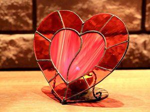 Сердце на двоих. (витражный подсвечник) | Ярмарка Мастеров - ручная работа, handmade