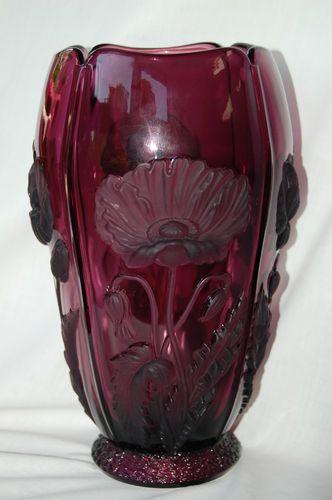 Barolac Czech Art Scupture Glass Amethyst Purple Poppy Vase 9-1/4