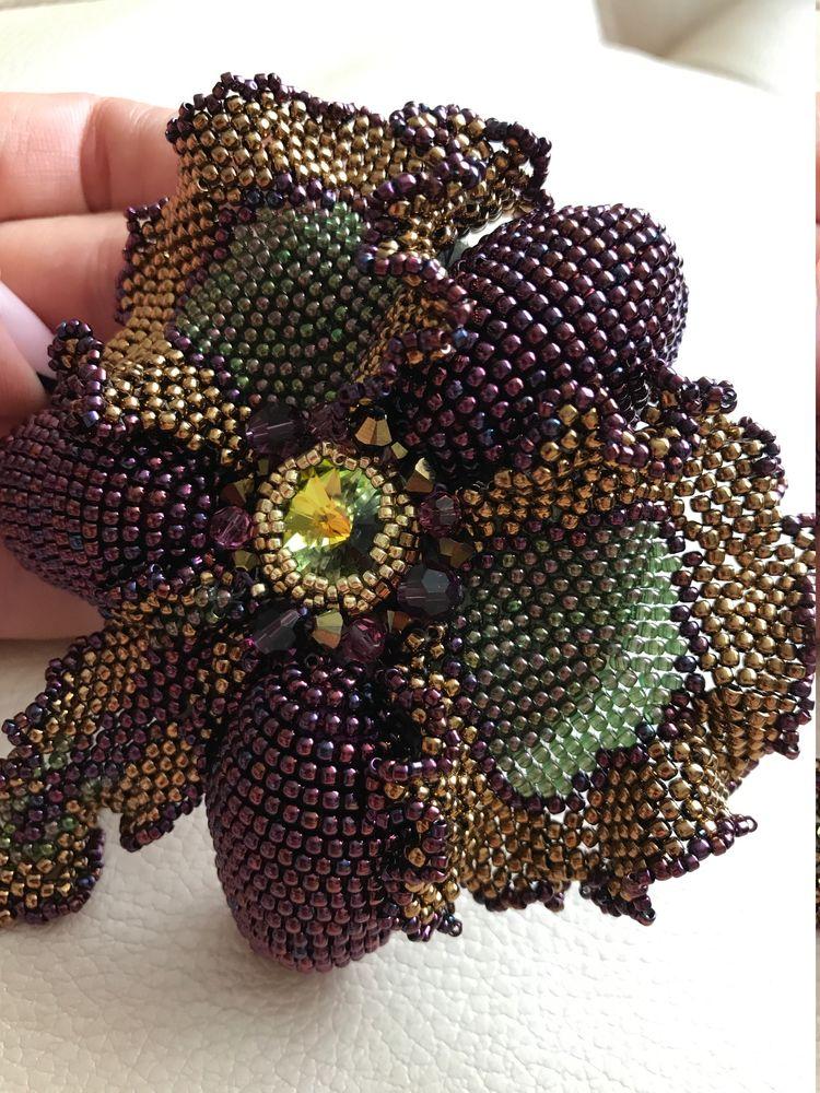 объемная вышивка, орхидея, броши, вышивка бисером