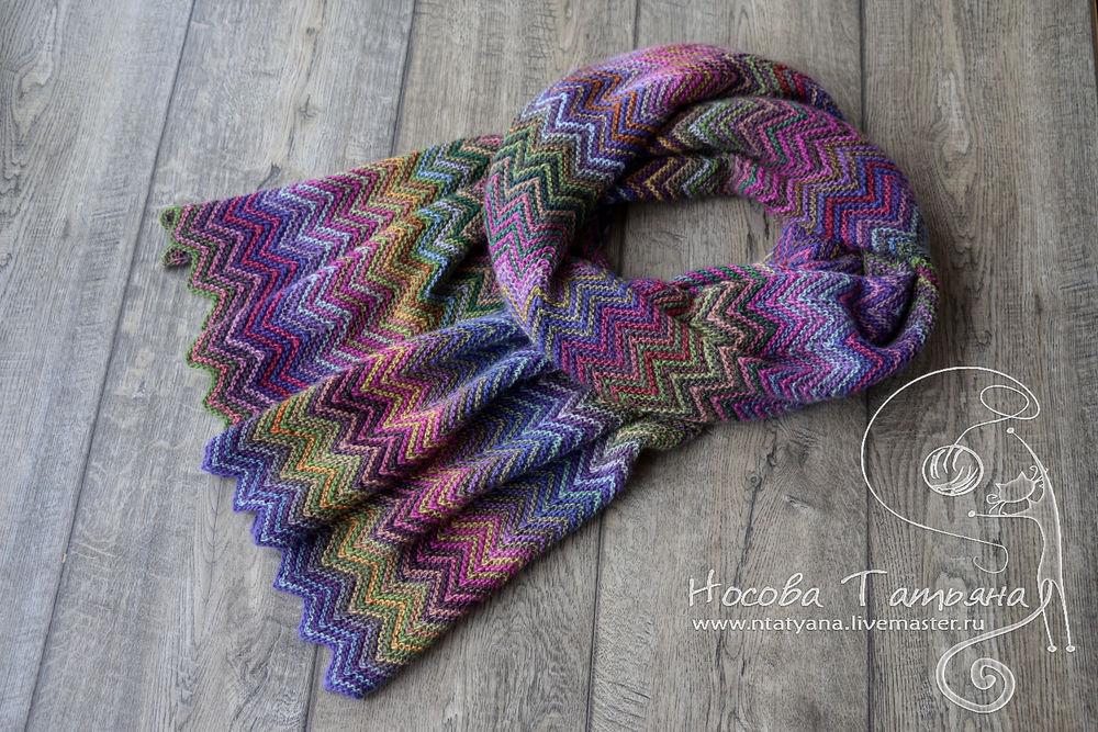 вязанный шарф, фиолетовый