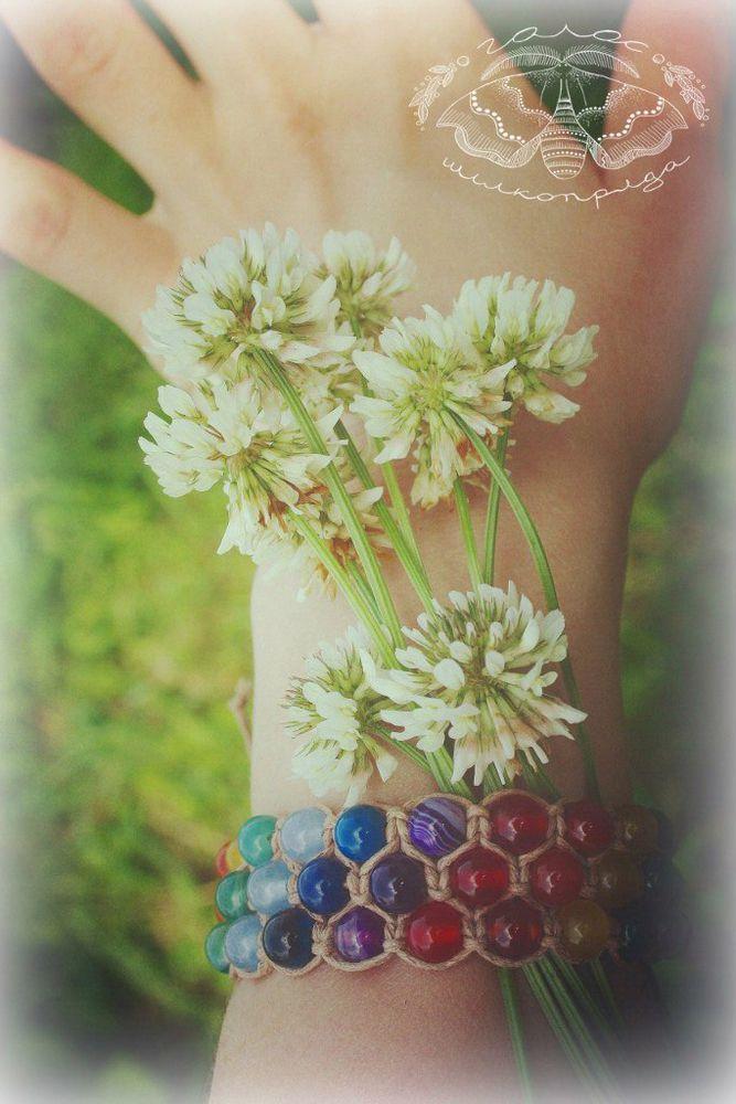 руки, браслет шамбала, натуральные камни, агат