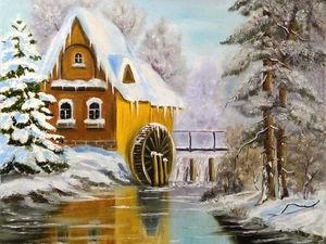Подарочная картина: зимний пейзаж Дом в лесу. Ярмарка Мастеров - ручная работа, handmade.