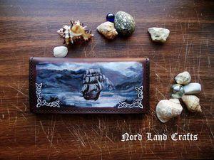 Видео мастер-класс: рисуем корабль на портмоне из кожи. Ярмарка Мастеров - ручная работа, handmade.