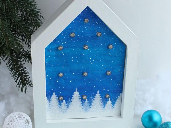 Создаём ночник «Новогодний домик» из гирлянды и гофрокартона | Ярмарка Мастеров - ручная работа, handmade