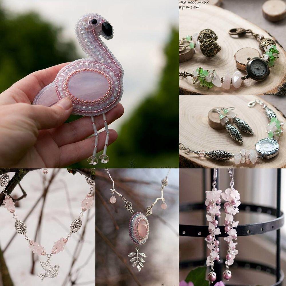 розовый кварц, интересные факты, брошь фламинго, наручные часы, украшение с кварцем, часики, украшения ручной работы, стильные украшения