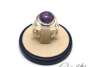 Серебряное кольцо с чароитом (видео). Ярмарка Мастеров - ручная работа, handmade.
