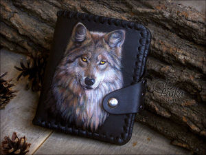 Живопись по коже на основе фотографии. Волк | Ярмарка Мастеров - ручная работа, handmade
