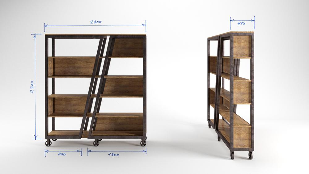 дизайн мебели, отделка пространства, стеллажи лофт