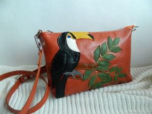 Аукцион с 0 на кожаную сумочку Тукан оранжевая. Ярмарка Мастеров - ручная работа, handmade.