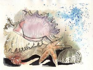 Рисуем акварелью картину в морском стиле «Дары моря». Ярмарка Мастеров - ручная работа, handmade.