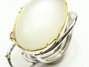 Видео Кольца ручной работы с натуральным Лунным камнем 26 карат, серебро 925 пробы. Ярмарка Мастеров - ручная работа, handmade.
