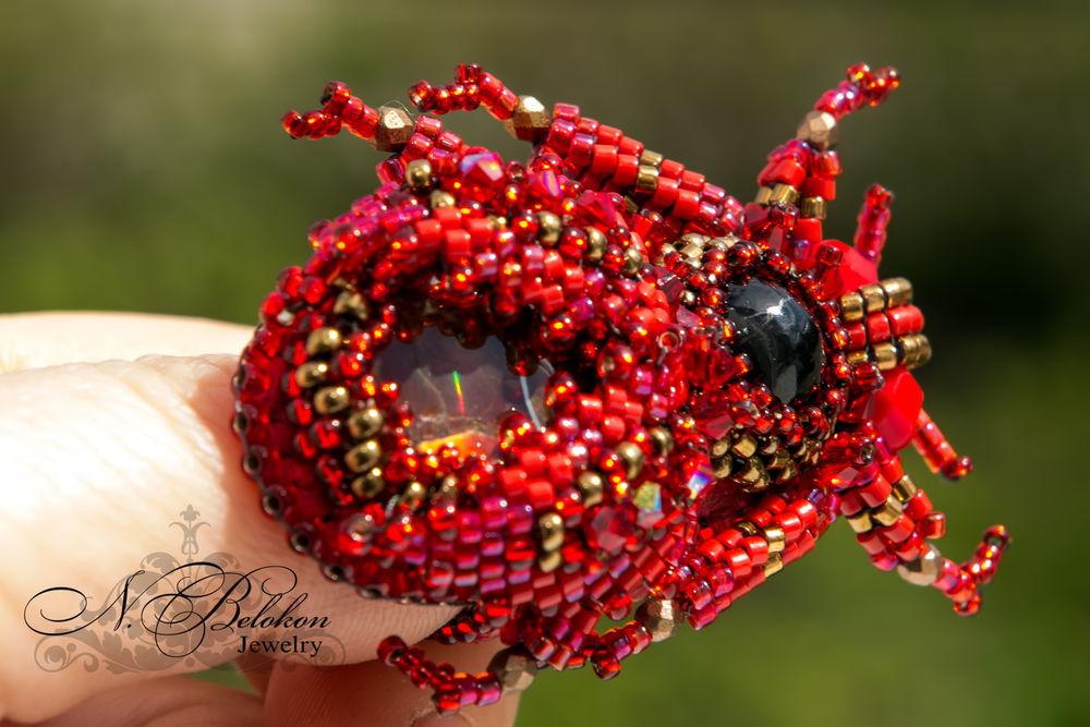 Огненный аммолитовый жучок колечко, фото № 15