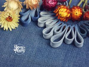 Колье из джинсовой ткани Волна.. Ярмарка Мастеров - ручная работа, handmade.