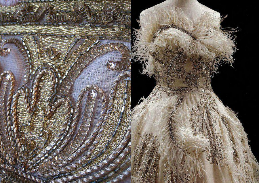 вышивка бисером, стеклярус, дизайнерское платье