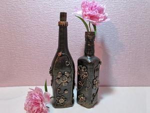 Видео мастер-класс: декорируем бутылки обыкновенными пуговицами | Ярмарка Мастеров - ручная работа, handmade