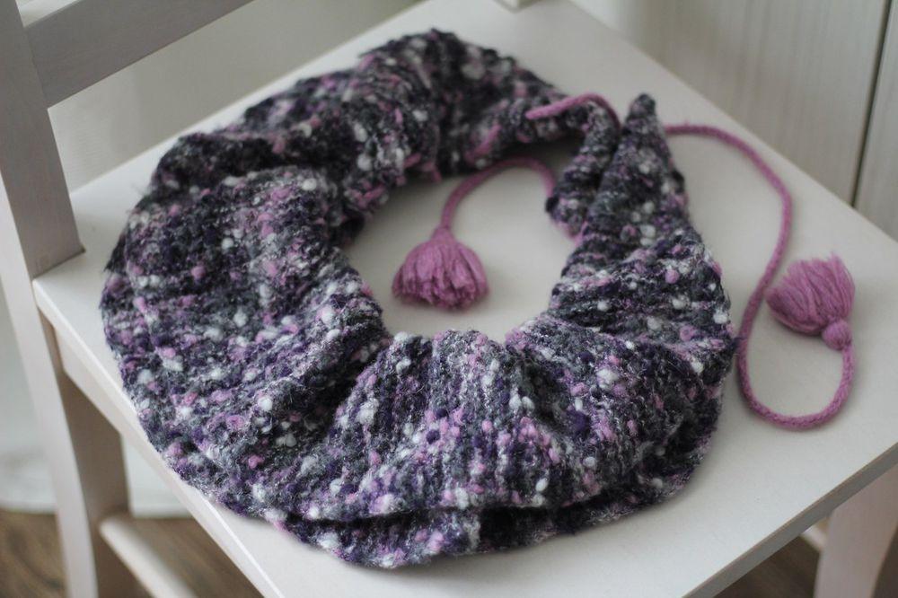 шарф вязаный, бохо украшения, итальянская пряжа