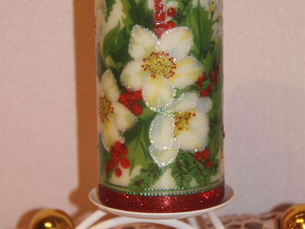 Декорирование рождественской свечи в технике