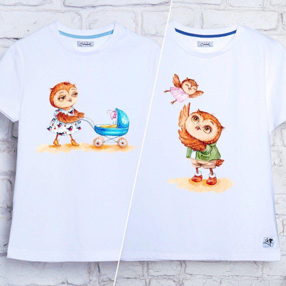 подарок, футболка с принтом, футболка с рисунком, совушка, подарок на рождение, рождение ребенка, футболка женская, футболка мужская