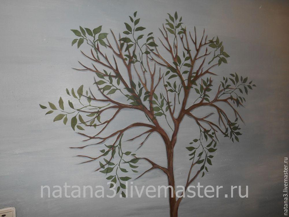 роспись стены, лимонное дерево
