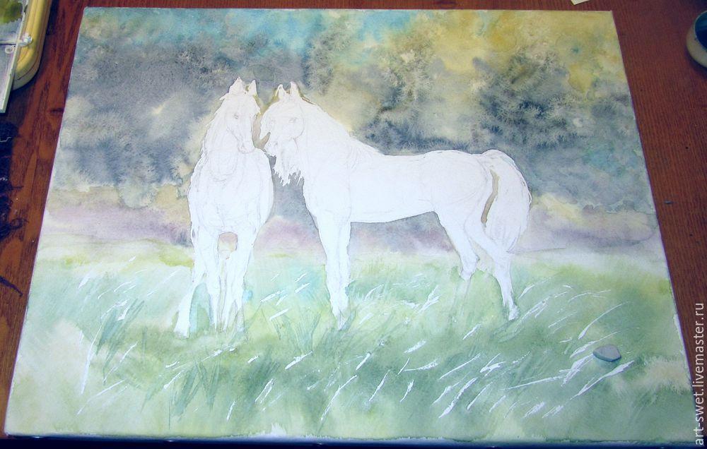 Как рисовать лошадок акварелью, фото № 8