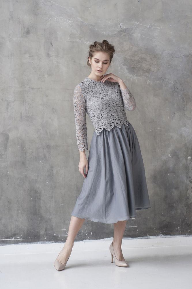 пышная юбка, жемчужно-серый