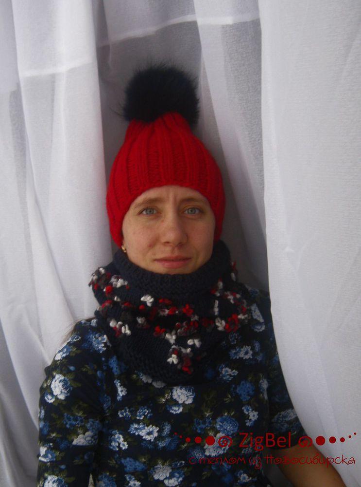 zigbel, шапка с помпоном, шапка чулок, снуд, снуд в один оборот, вязаный шарф