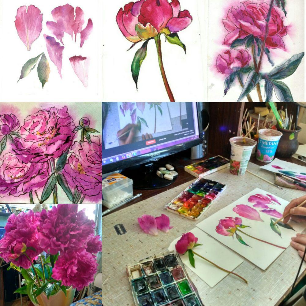 акварель, обучение живописи, ботаническая зарисовка, уроки рисования, живопись для начинающих