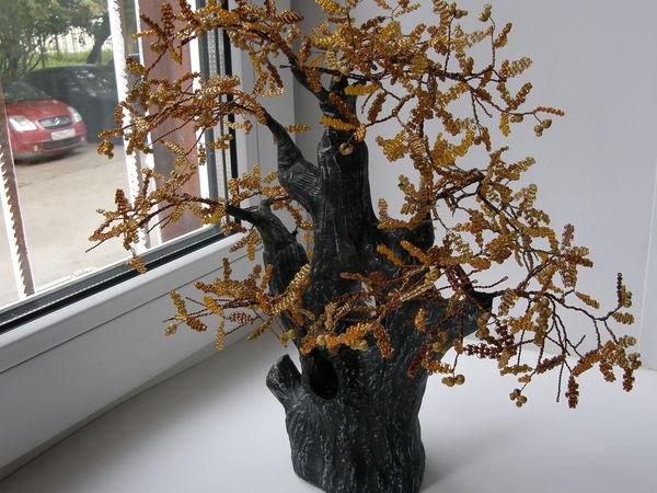 Осенний дуб. Создаем дерево из бисера с полноценными листочками | Ярмарка Мастеров - ручная работа, handmade
