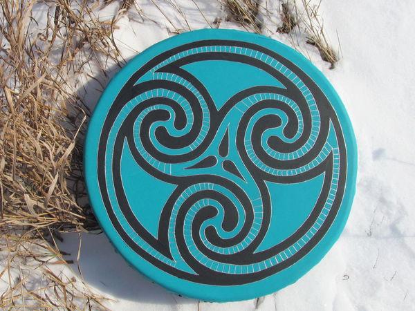 Триксель. Бубен ведический бирюзовый. 40 см. пример звучания | Ярмарка Мастеров - ручная работа, handmade