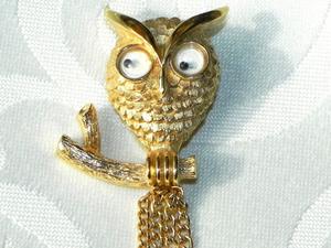 Видео. Брошь Мудрая сова, Avon, США, 1975 год. Ярмарка Мастеров - ручная работа, handmade.