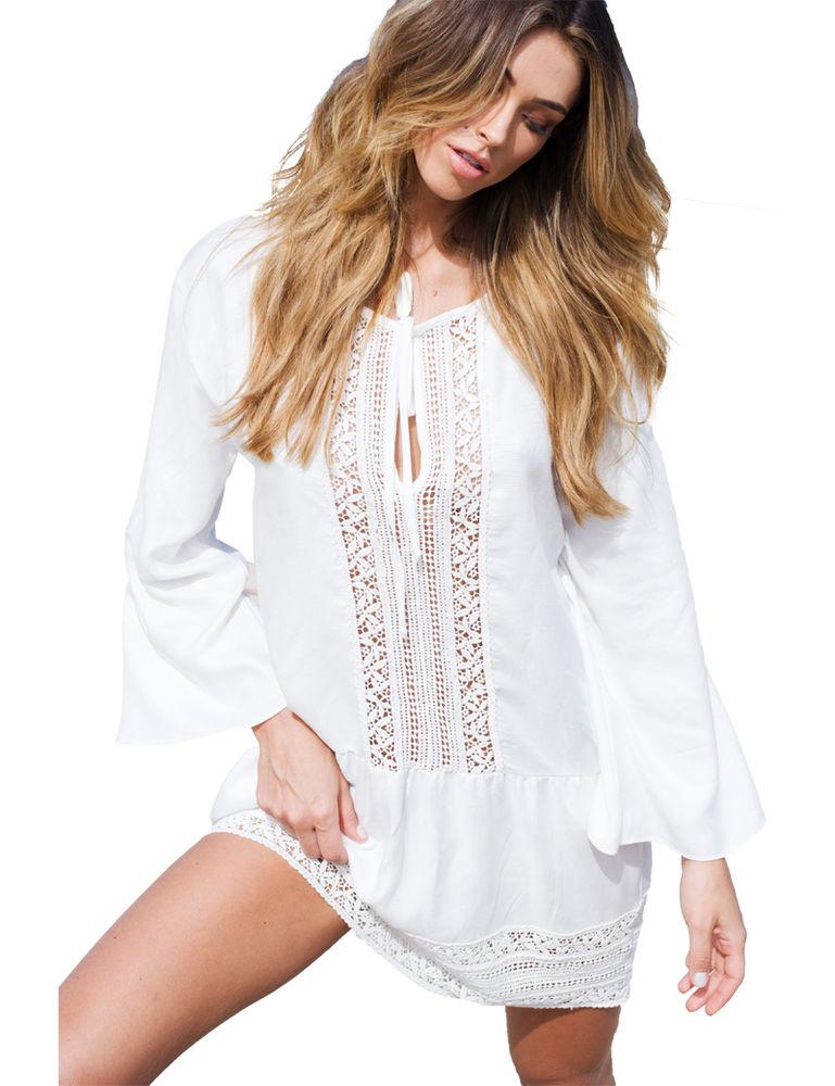Белое бохо, или Шикарная одежда для королевы летнего пляжа, фото № 71