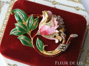 Coro, 1940е, розовая эмаль. Ох и АХ. Ярмарка Мастеров - ручная работа, handmade.