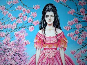 """Представляю картину под названием """" Среди розовых магнолий """". Ярмарка Мастеров - ручная работа, handmade."""